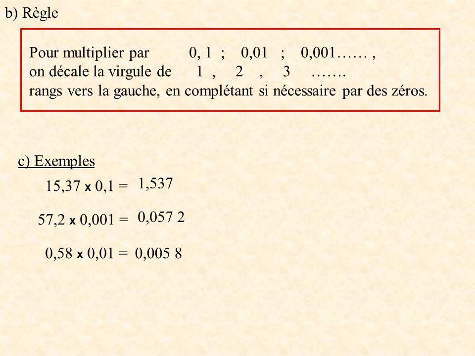 c) Exemples 15,37 x 0,1 = 57,2 x 0,001 = 0,58 x 0,01 = 1,537 0,057 2 0,005 8 b) Règle Pour multiplier par 0, 1 ; 0,01 ; 0,001……, on décale la virgule