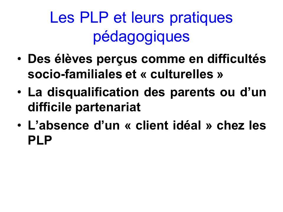 Les PLP et leurs pratiques pédagogiques Des élèves perçus comme en difficultés socio-familiales et « culturelles » La disqualification des parents ou dun difficile partenariat Labsence dun « client idéal » chez les PLP