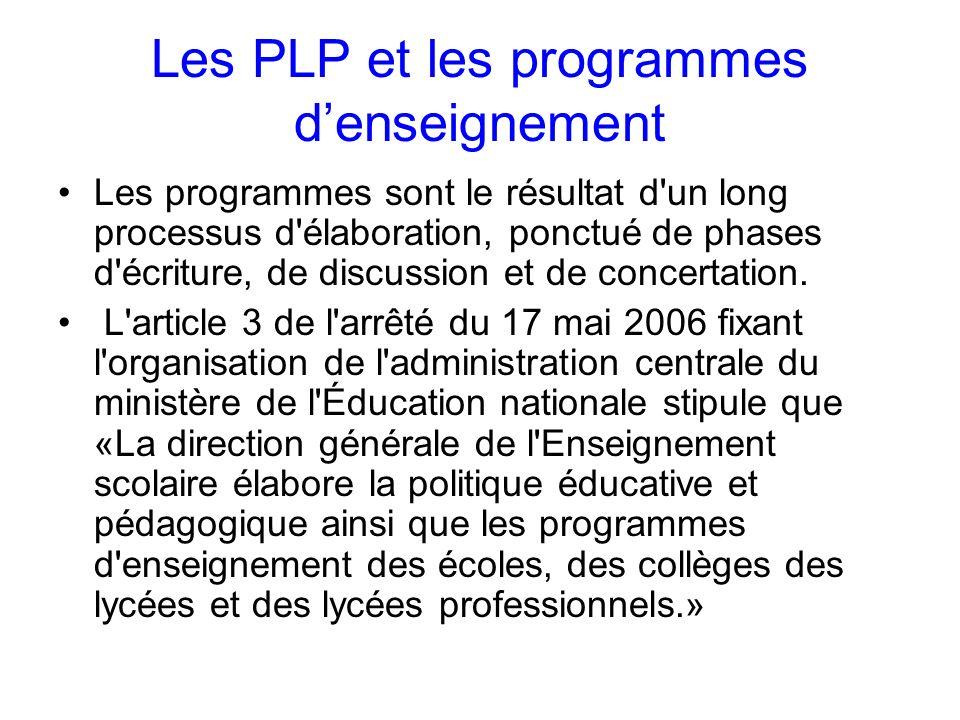 Les PLP et les programmes denseignement Les programmes sont le résultat d un long processus d élaboration, ponctué de phases d écriture, de discussion et de concertation.