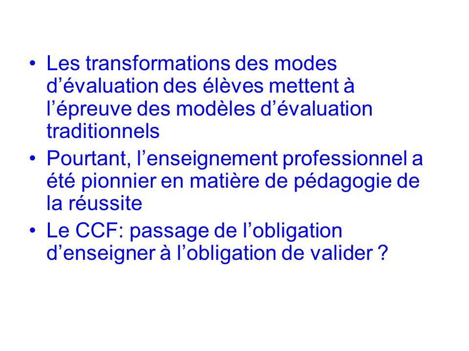 Les transformations des modes dévaluation des élèves mettent à lépreuve des modèles dévaluation traditionnels Pourtant, lenseignement professionnel a été pionnier en matière de pédagogie de la réussite Le CCF: passage de lobligation denseigner à lobligation de valider