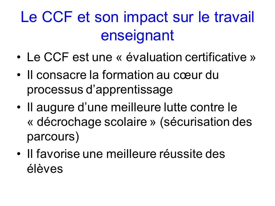 Le CCF et son impact sur le travail enseignant Le CCF est une « évaluation certificative » Il consacre la formation au cœur du processus dapprentissage Il augure dune meilleure lutte contre le « décrochage scolaire » (sécurisation des parcours) Il favorise une meilleure réussite des élèves
