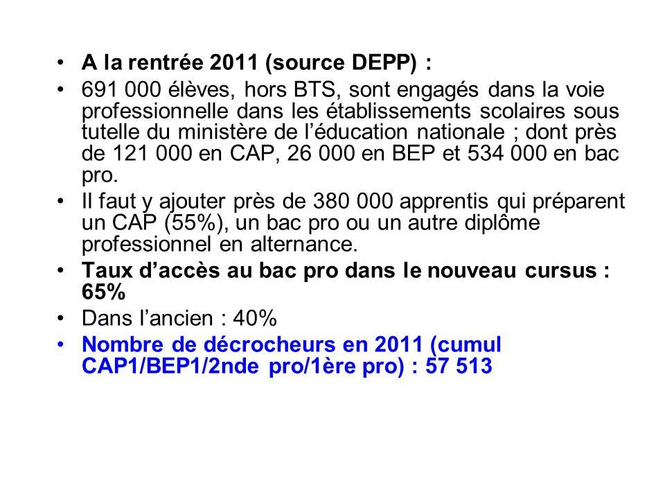 A la rentrée 2011 (source DEPP) : 691 000 élèves, hors BTS, sont engagés dans la voie professionnelle dans les établissements scolaires sous tutelle du ministère de léducation nationale ; dont près de 121 000 en CAP, 26 000 en BEP et 534 000 en bac pro.
