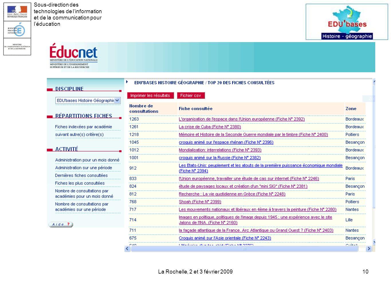 La Rochelle, 2 et 3 février 200910 Sous-direction des technologies de linformation et de la communication pour léducation