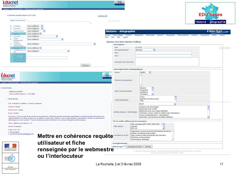 La Rochelle, 2 et 3 février 200911 Mettre en cohérence requête utilisateur et fiche renseignée par le webmestre ou linterlocuteur