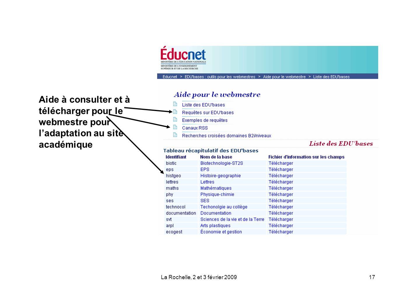 La Rochelle, 2 et 3 février 200917 Aide à consulter et à télécharger pour le webmestre pour ladaptation au site académique