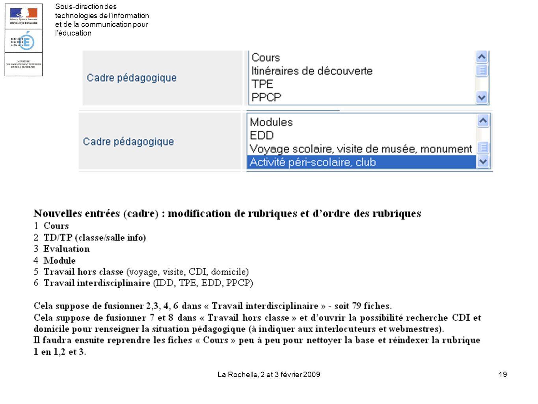 La Rochelle, 2 et 3 février 200919 Sous-direction des technologies de linformation et de la communication pour léducation
