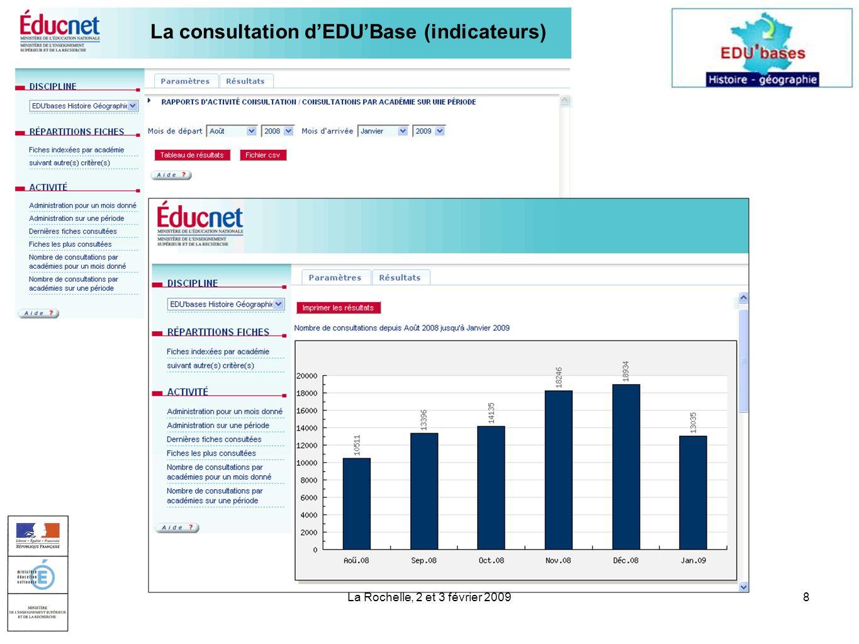 La Rochelle, 2 et 3 février 20098 La consultation dEDUBase (indicateurs)