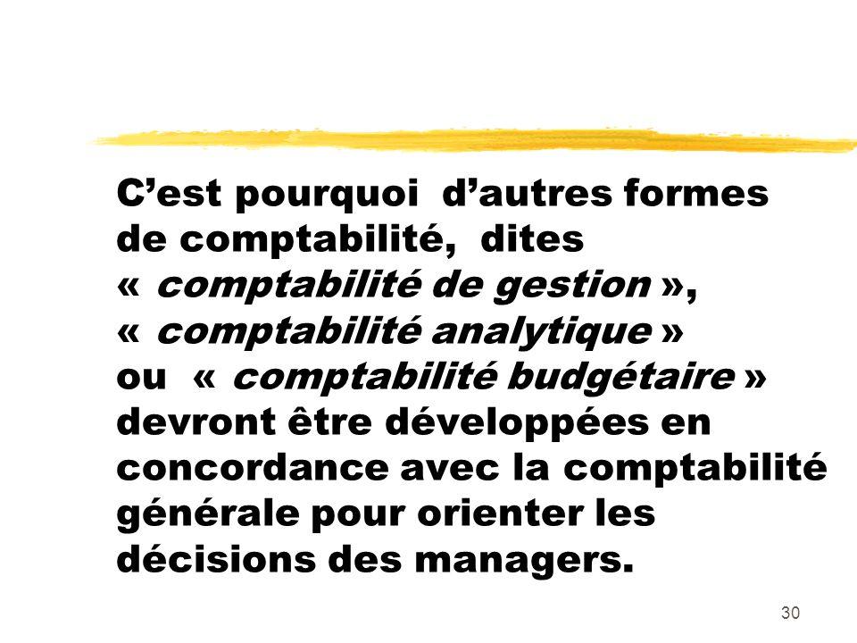 30 Cest pourquoi dautres formes de comptabilité, dites « comptabilité de gestion », « comptabilité analytique » ou « comptabilité budgétaire » devront