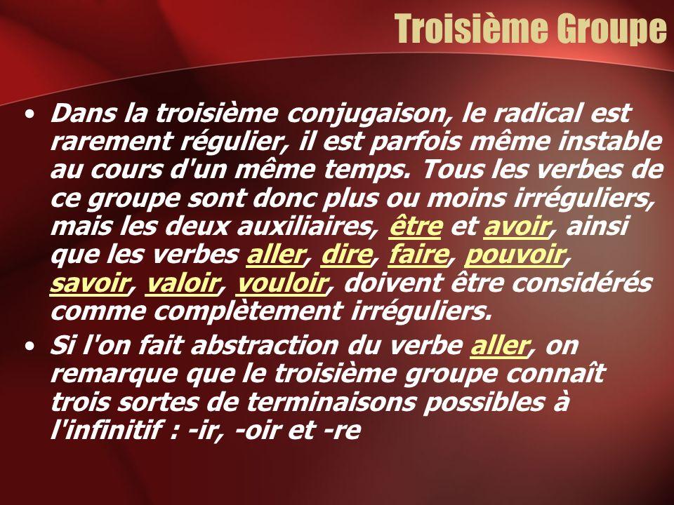 Troisième Groupe Dans la troisième conjugaison, le radical est rarement régulier, il est parfois même instable au cours d'un même temps. Tous les verb