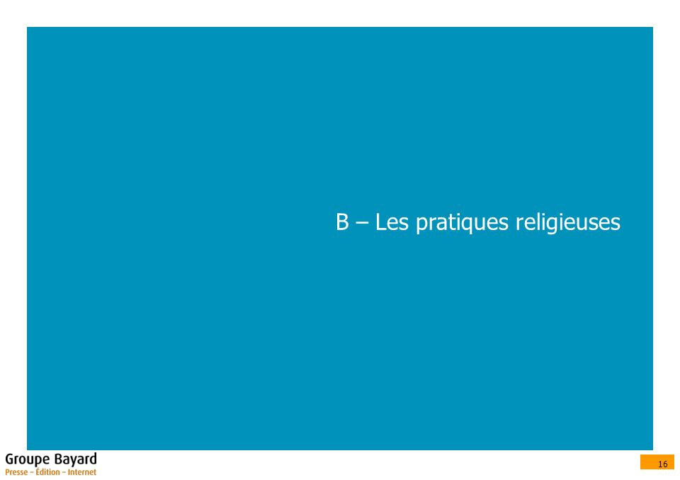 16 B – Les pratiques religieuses