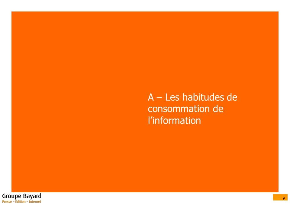 9 A – Les habitudes de consommation de linformation