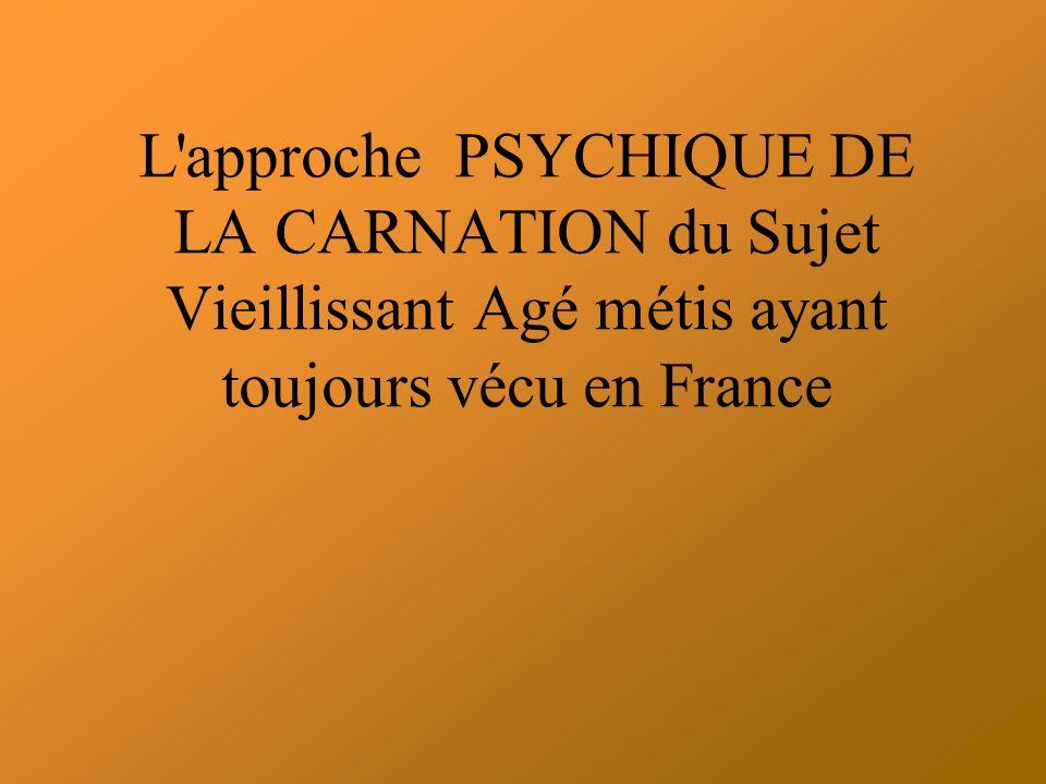 L approche PSYCHIQUE DE LA CARNATION du Sujet Vieillissant Agé métis ayant toujours vécu en France