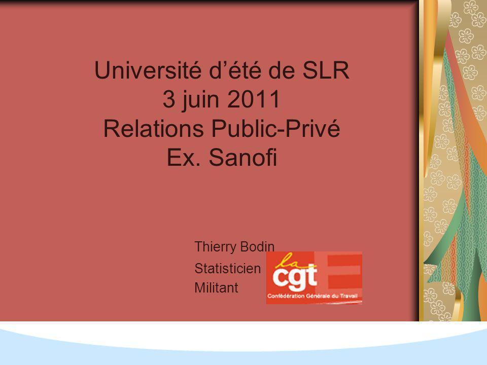Université dété de SLR 3 juin 2011 Relations Public-Privé Ex.