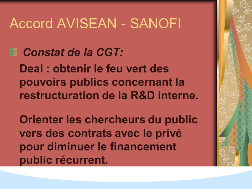 Accord AVISEAN - SANOFI Constat de la CGT: Deal : obtenir le feu vert des pouvoirs publics concernant la restructuration de la R&D interne.