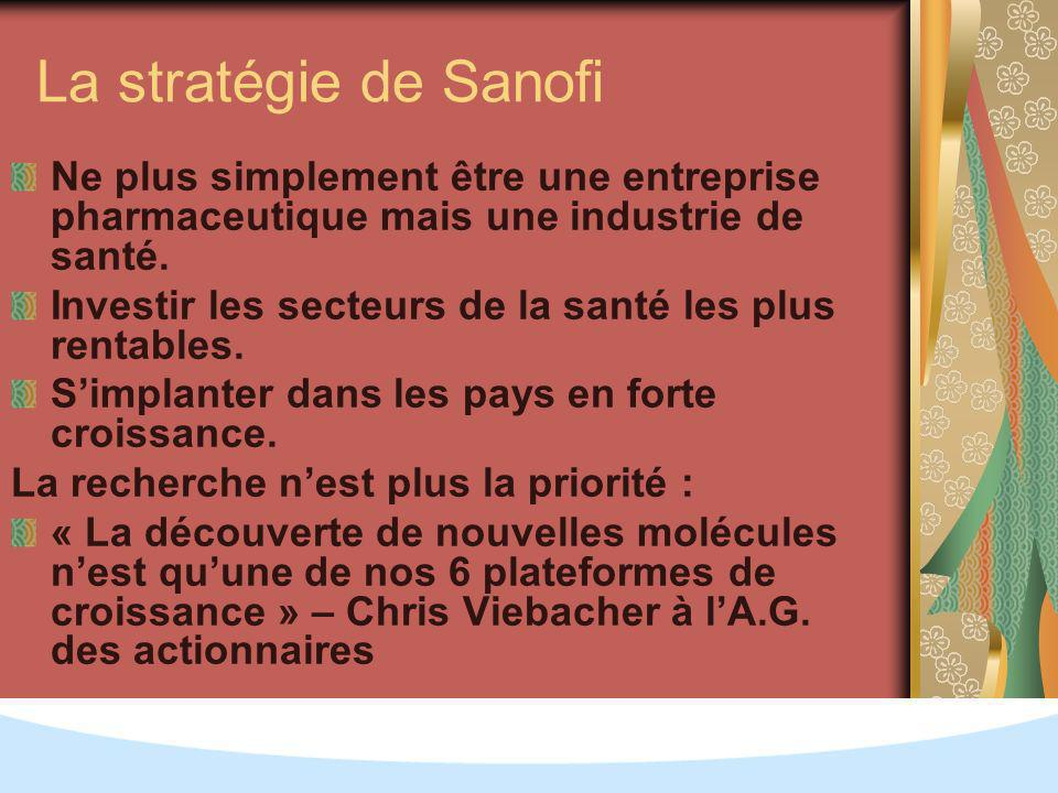 La stratégie de Sanofi Ne plus simplement être une entreprise pharmaceutique mais une industrie de santé.