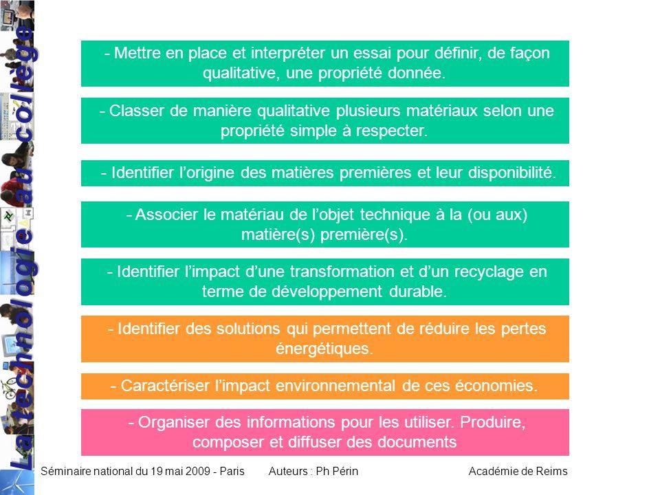 La technologie au collège Séminaire national du 19 mai 2009 - ParisAuteurs : Ph Périn Académie de Reims - Mettre en place et interpréter un essai pour définir, de façon qualitative, une propriété donnée.