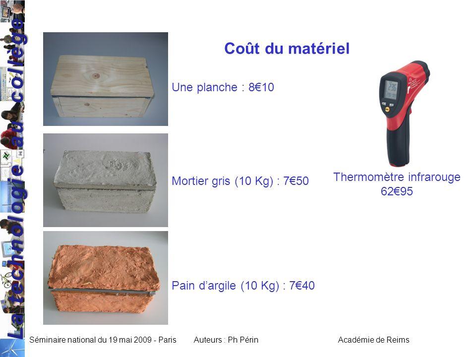 La technologie au collège Séminaire national du 19 mai 2009 - ParisAuteurs : Ph Périn Académie de Reims Coût du matériel Pain dargile (10 Kg) : 740 Mortier gris (10 Kg) : 750 Une planche : 810 Thermomètre infrarouge 6295