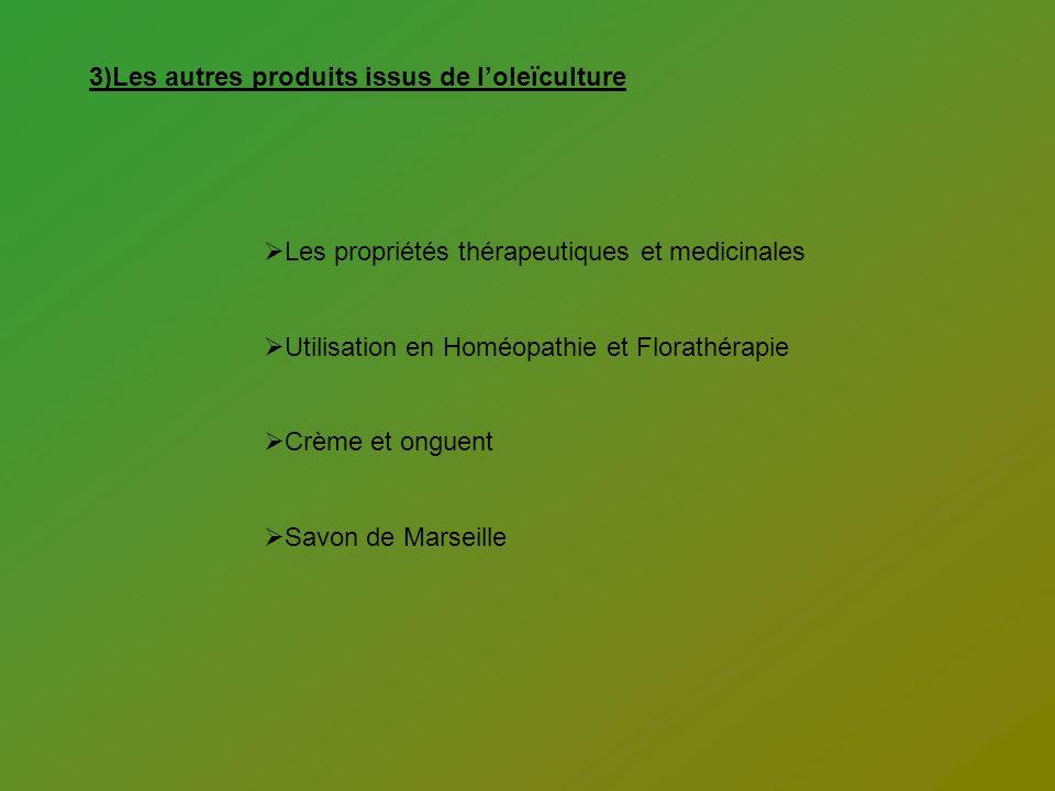 3)Les autres produits issus de loleïculture Les propriétés thérapeutiques et medicinales Utilisation en Homéopathie et Florathérapie Crème et onguent