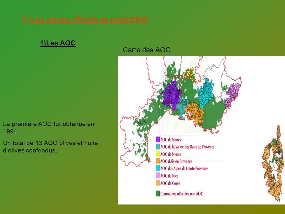 III)Les signes officiels de production 1)Les AOC La première AOC fut obtenue en 1994. Un total de 13 AOC olives et huile dolives confondus. Carte des