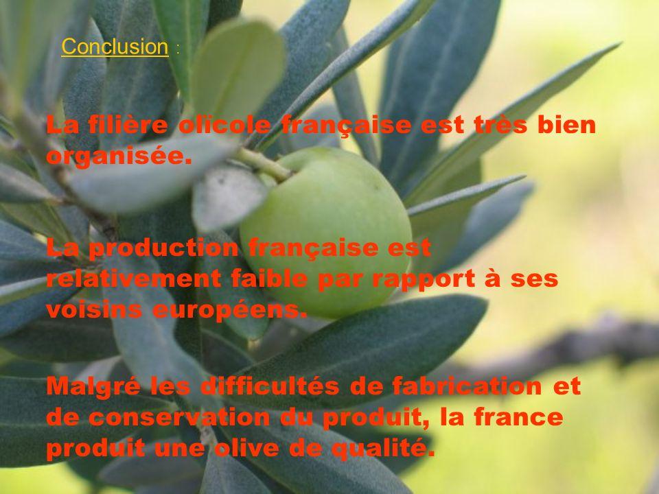 Conclusion : La filière olïcole française est très bien organisée. La production française est relativement faible par rapport à ses voisins européens