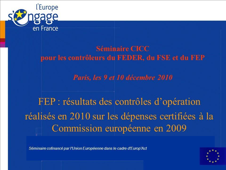 Séminaire cofinancé par l'Union Européenne dans le cadre d'Europ'Act Séminaire CICC pour les contrôleurs du FEDER, du FSE et du FEP Paris, les 9 et 10