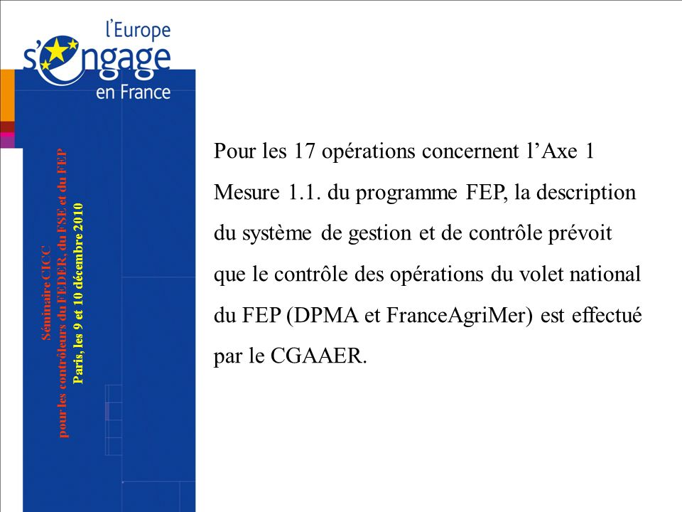 Séminaire CICC pour les contrôleurs du FEDER, du FSE et du FEP Paris, les 9 et 10 décembre 2010 Pour les 17 opérations concernent lAxe 1 Mesure 1.1. d