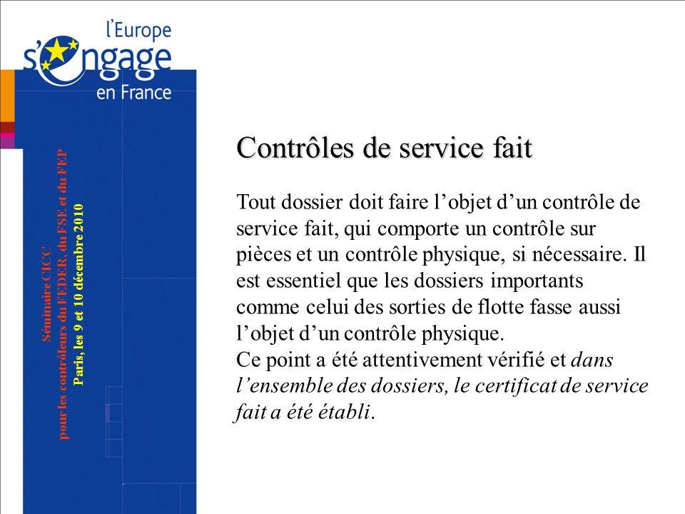 Séminaire CICC pour les contrôleurs du FEDER, du FSE et du FEP Paris, les 9 et 10 décembre 2010 Contrôles de service fait Contrôles de service fait To