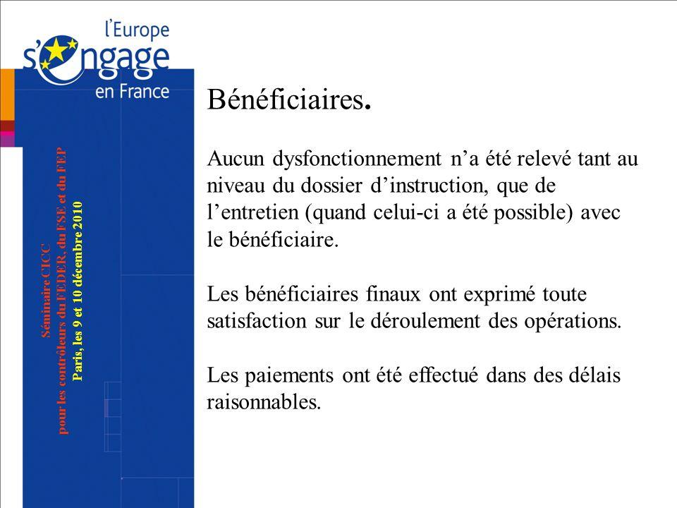 Séminaire CICC pour les contrôleurs du FEDER, du FSE et du FEP Paris, les 9 et 10 décembre 2010 Bénéficiaires. Aucun dysfonctionnement na été relevé t