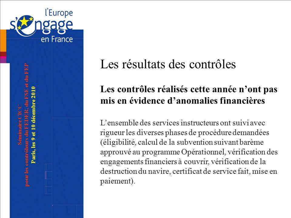 Séminaire CICC pour les contrôleurs du FEDER, du FSE et du FEP Paris, les 9 et 10 décembre 2010 Les résultats des contrôles Les contrôles réalisés cet