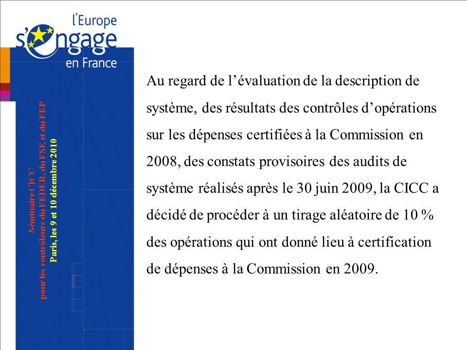 Séminaire CICC pour les contrôleurs du FEDER, du FSE et du FEP Paris, les 9 et 10 décembre 2010 Au regard de lévaluation de la description de système,