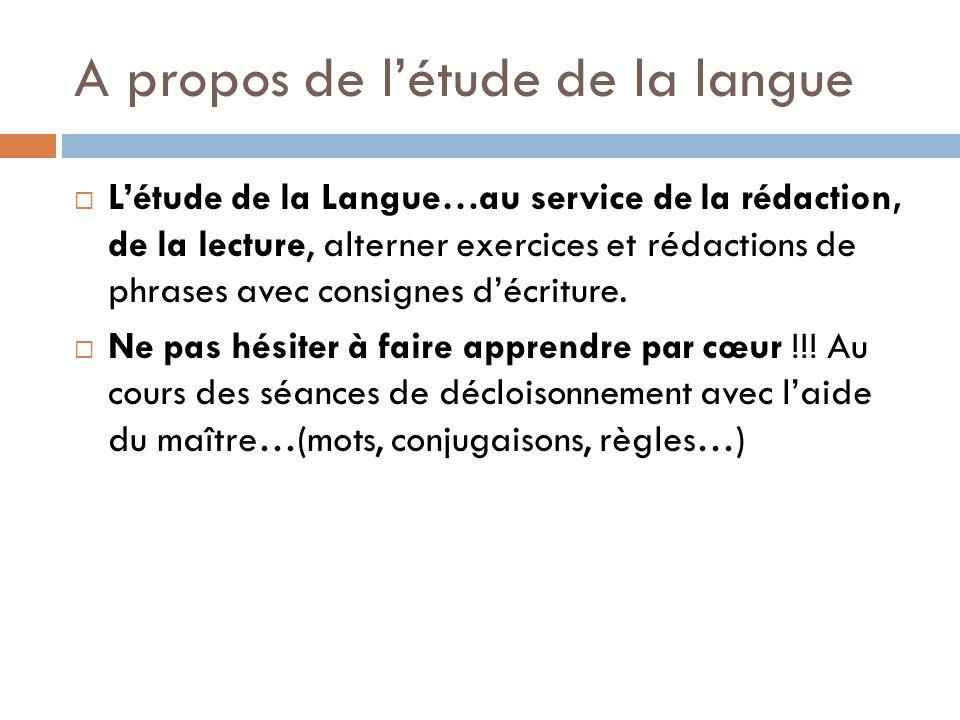 A propos de létude de la langue Létude de la Langue…au service de la rédaction, de la lecture, alterner exercices et rédactions de phrases avec consig