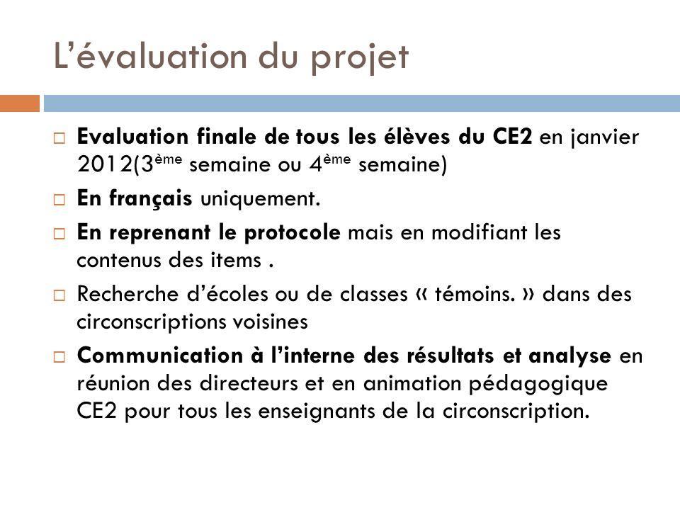 Lévaluation du projet Evaluation finale de tous les élèves du CE2 en janvier 2012(3 ème semaine ou 4 ème semaine) En français uniquement. En reprenant