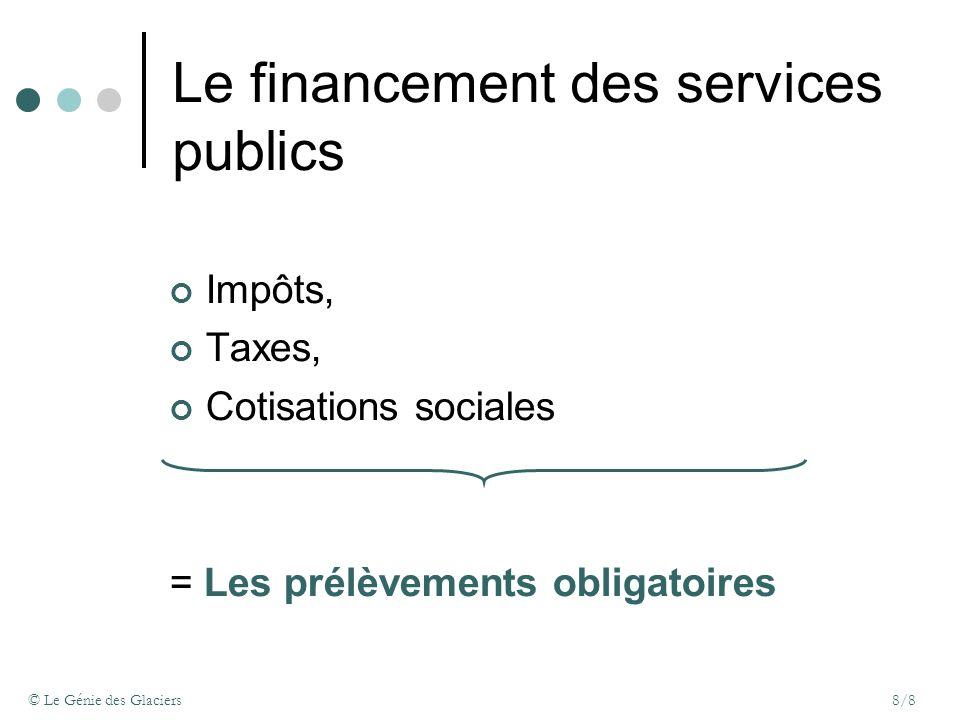 © Le Génie des Glaciers8/8 Le financement des services publics Impôts, Taxes, Cotisations sociales = Les prélèvements obligatoires