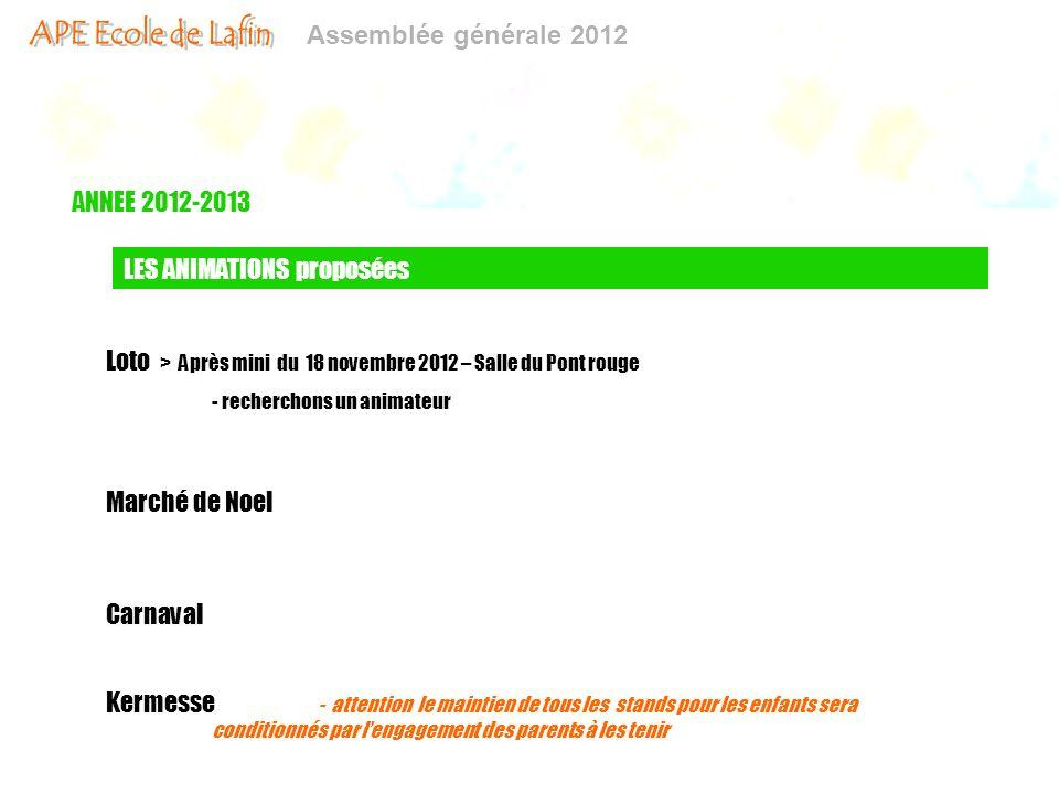 Assemblée générale 2012 ANNEE 2012-2013 LES ANIMATIONS proposées Marché de Noel Carnaval Kermesse - attention le maintien de tous les stands pour les