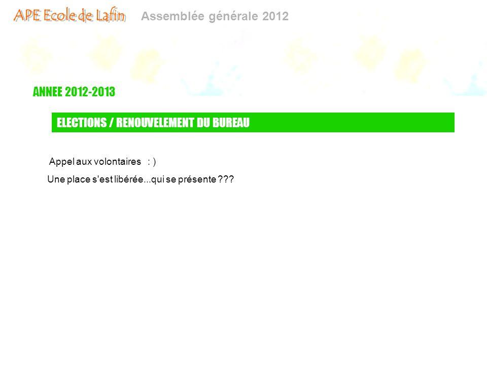 Assemblée générale 2012 ANNEE 2012-2013 ELECTIONS / RENOUVELEMENT DU BUREAU Appel aux volontaires : ) Une place s'est libérée...qui se présente ???