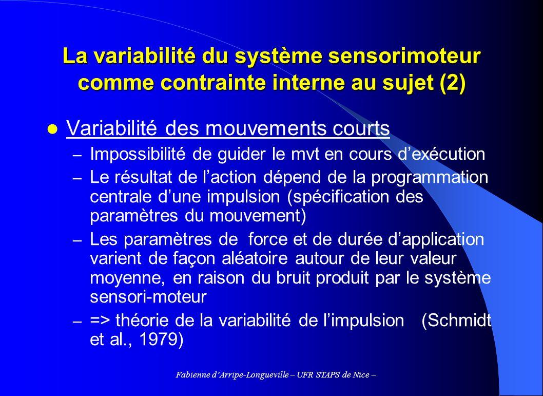 Fabienne dArripe-Longueville – UFR STAPS de Nice – La variabilité du système sensorimoteur comme contrainte interne au sujet (2) Variabilité des mouve