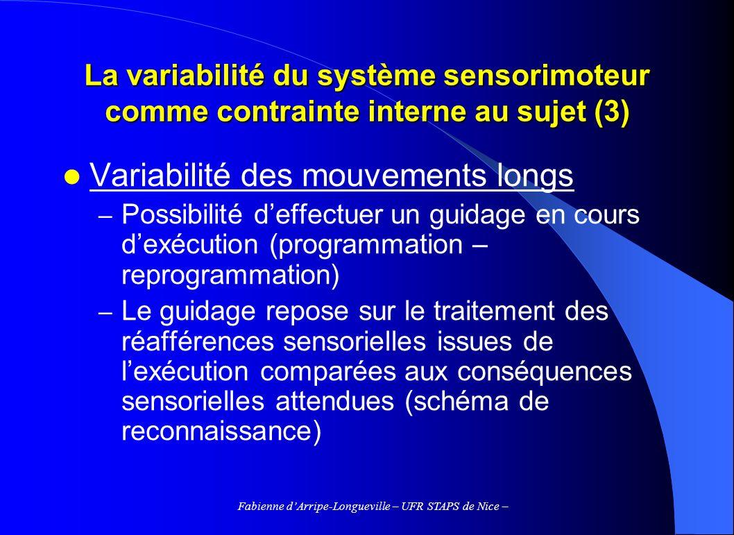 Fabienne dArripe-Longueville – UFR STAPS de Nice – La variabilité du système sensorimoteur comme contrainte interne au sujet (3) Variabilité des mouve