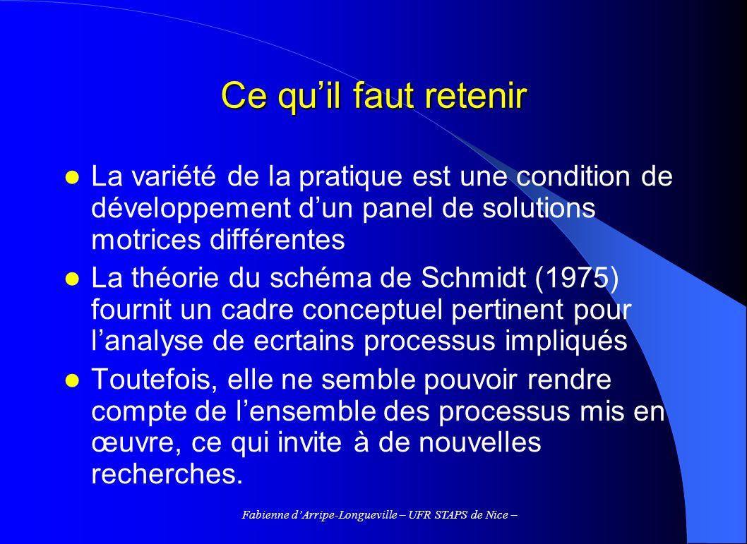 Fabienne dArripe-Longueville – UFR STAPS de Nice – Ce quil faut retenir La variété de la pratique est une condition de développement dun panel de solu