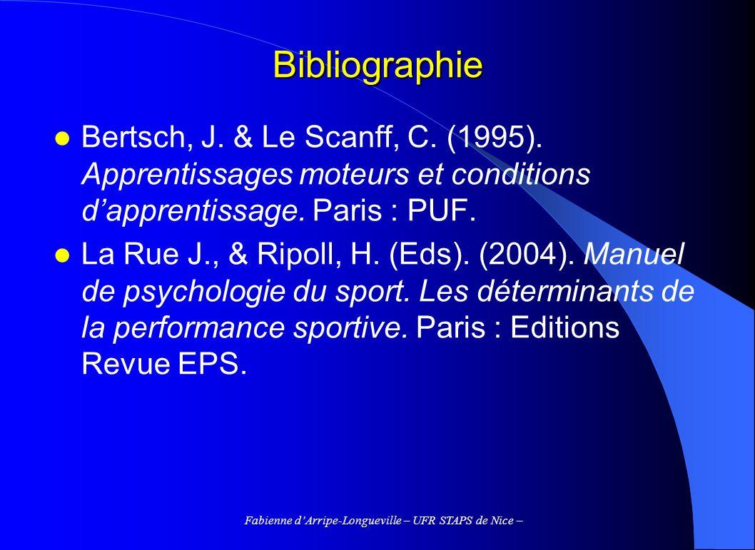 Fabienne dArripe-Longueville – UFR STAPS de Nice – Pourquoi la variabilité .