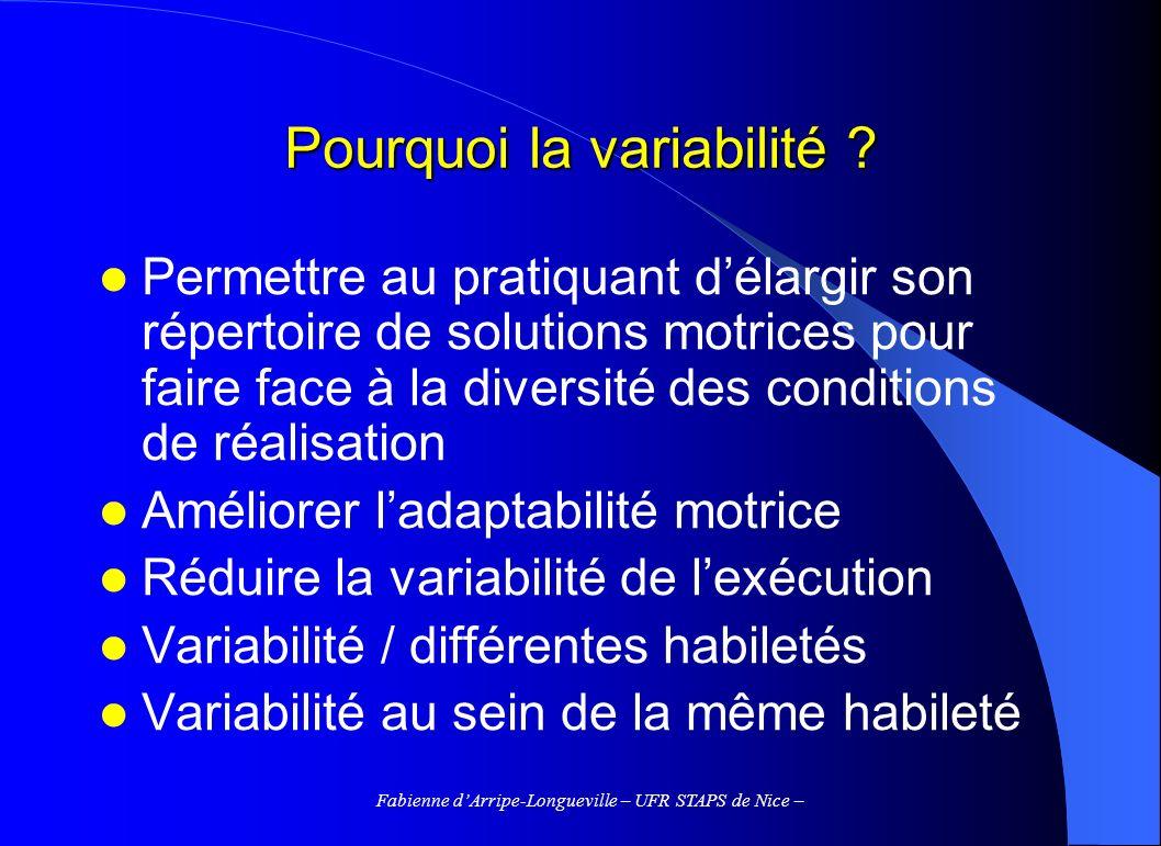 Fabienne dArripe-Longueville – UFR STAPS de Nice – La variabilité de la pratique 3.4.1 Variabilité dans le contrôle du mouvement (supports théoriques) 3.4.2 Variabilité et aménagement des conditions dapprentissage (stratégies de guidage)