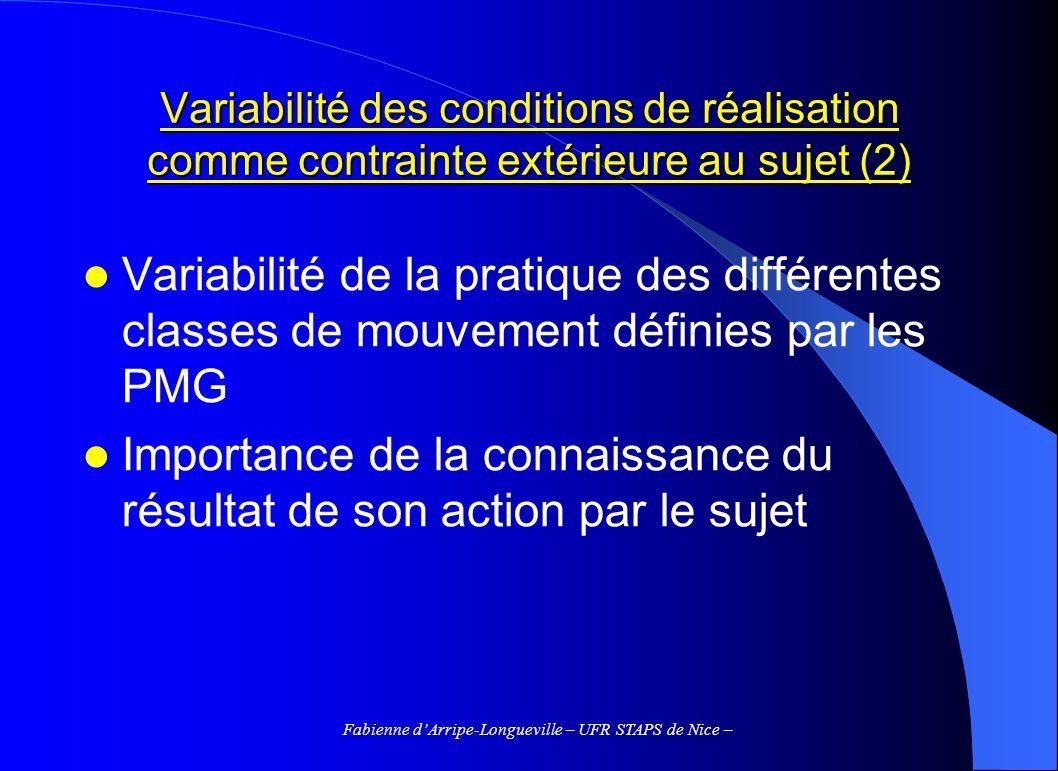 Fabienne dArripe-Longueville – UFR STAPS de Nice – La variabilité du système sensorimoteur comme contrainte interne au sujet (1) Au sein dune série de répétitions, la performance peut varier autour de la norme imposée au sujet par la tâche à réaliser Nécessité de distinguer les mouvements longs (> 200-300 ms) et les mouvements courts
