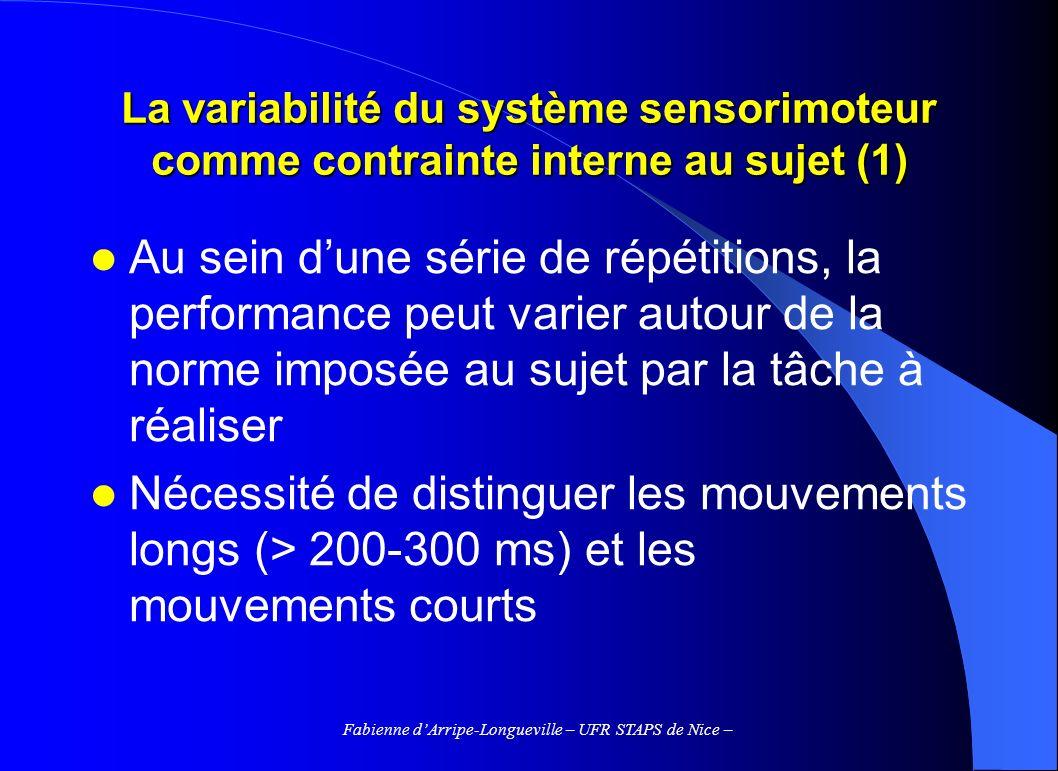 Fabienne dArripe-Longueville – UFR STAPS de Nice – La variabilité du système sensorimoteur comme contrainte interne au sujet (2) Variabilité des mouvements courts – Impossibilité de guider le mvt en cours dexécution – Le résultat de laction dépend de la programmation centrale dune impulsion (spécification des paramètres du mouvement) – Les paramètres de force et de durée dapplication varient de façon aléatoire autour de leur valeur moyenne, en raison du bruit produit par le système sensori-moteur – => théorie de la variabilité de limpulsion (Schmidt et al., 1979)