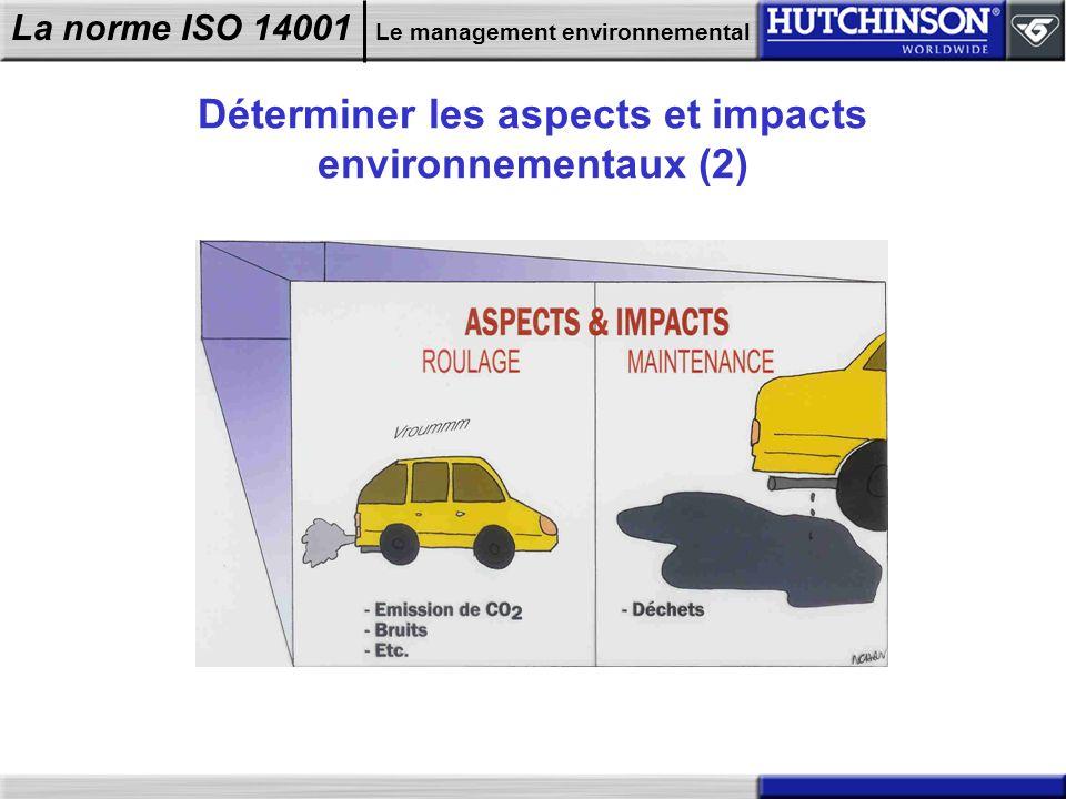 La norme ISO 14001 Le management environnemental Déterminer les aspects et impacts environnementaux (2)