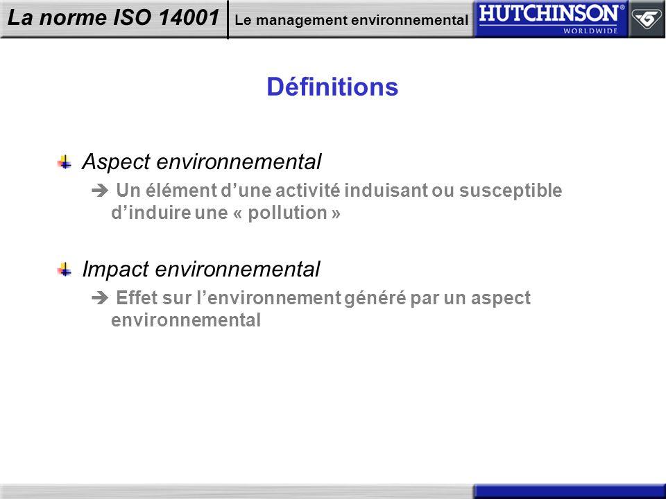 La norme ISO 14001 Le management environnemental Définitions Aspect environnemental Un élément dune activité induisant ou susceptible dinduire une « p