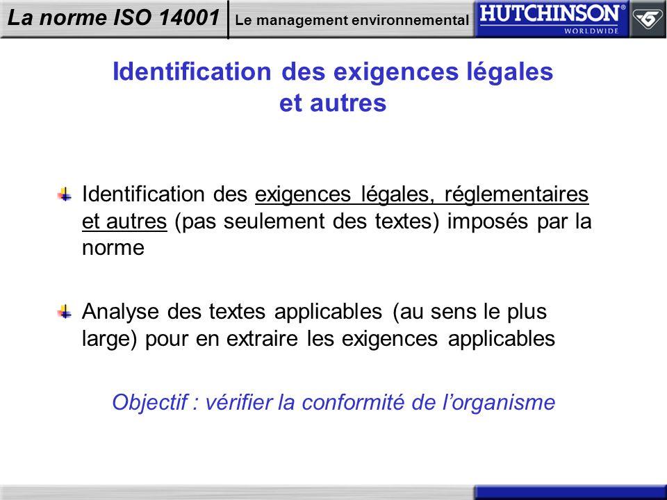 La norme ISO 14001 Le management environnemental Identification des exigences légales et autres Identification des exigences légales, réglementaires e