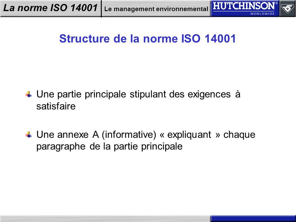 La norme ISO 14001 Le management environnemental Structure de la norme ISO 14001 Une partie principale stipulant des exigences à satisfaire Une annexe
