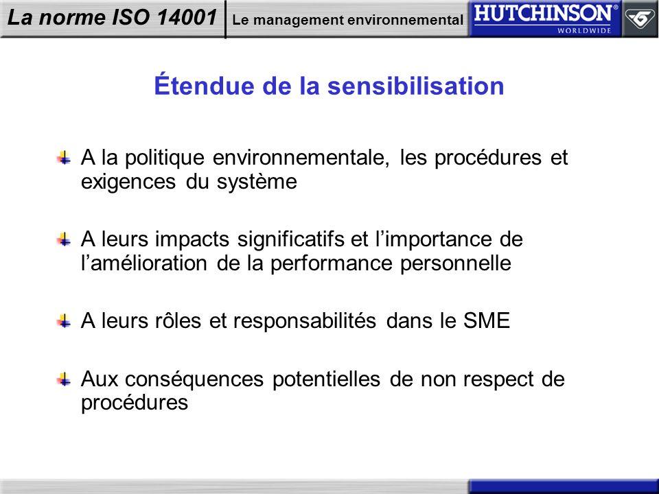 La norme ISO 14001 Le management environnemental Étendue de la sensibilisation A la politique environnementale, les procédures et exigences du système