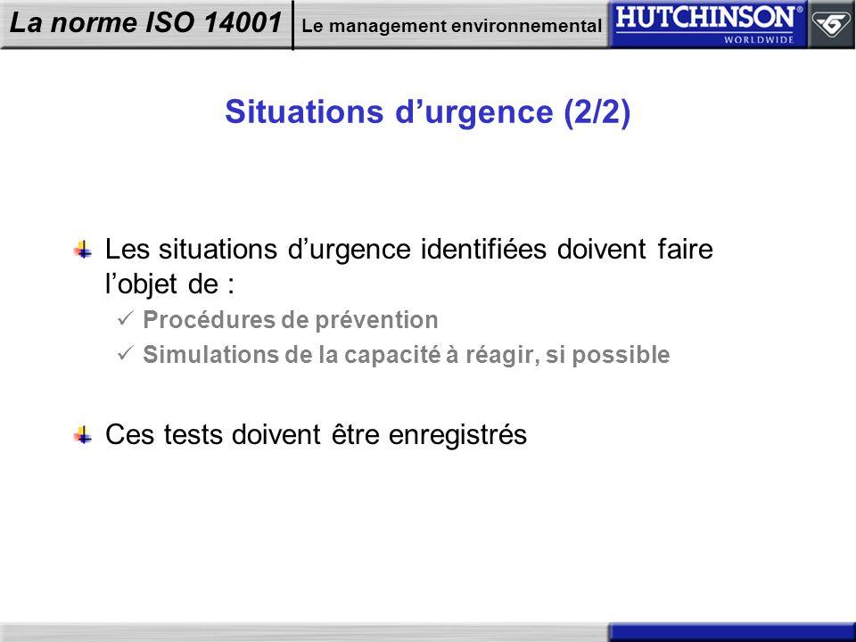 La norme ISO 14001 Le management environnemental Situations durgence (2/2) Les situations durgence identifiées doivent faire lobjet de : Procédures de