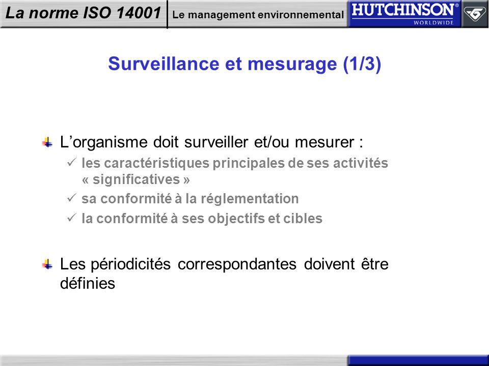 La norme ISO 14001 Le management environnemental Surveillance et mesurage (1/3) Lorganisme doit surveiller et/ou mesurer : les caractéristiques princi