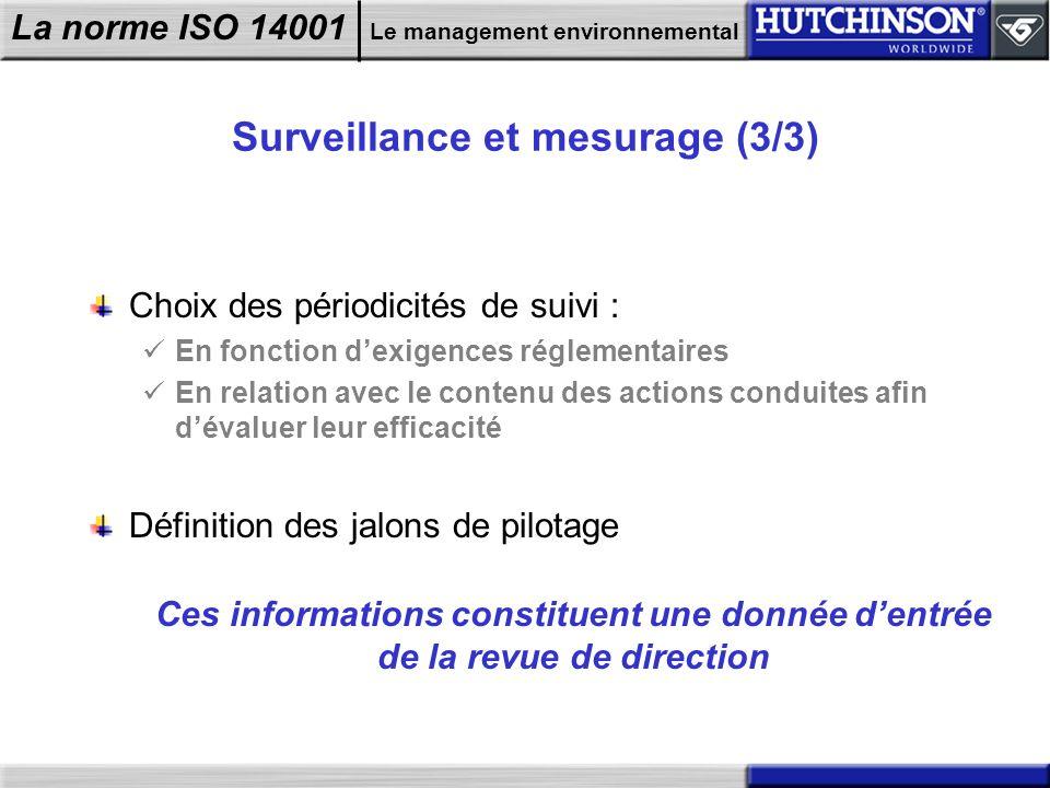 La norme ISO 14001 Le management environnemental Surveillance et mesurage (3/3) Choix des périodicités de suivi : En fonction dexigences réglementaire
